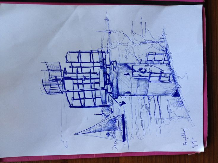 Signal Lighthouse. Sketch, blue pen. Vällinge Island. Pretty  little summer island in the Stockholm region.