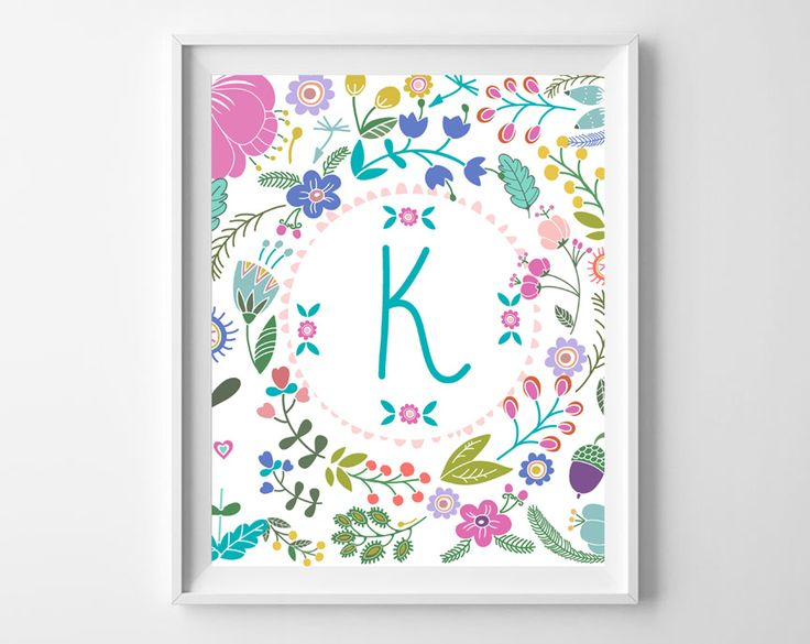 Free printable floral initial art for a girls room/nursery.  Choose initial and print.