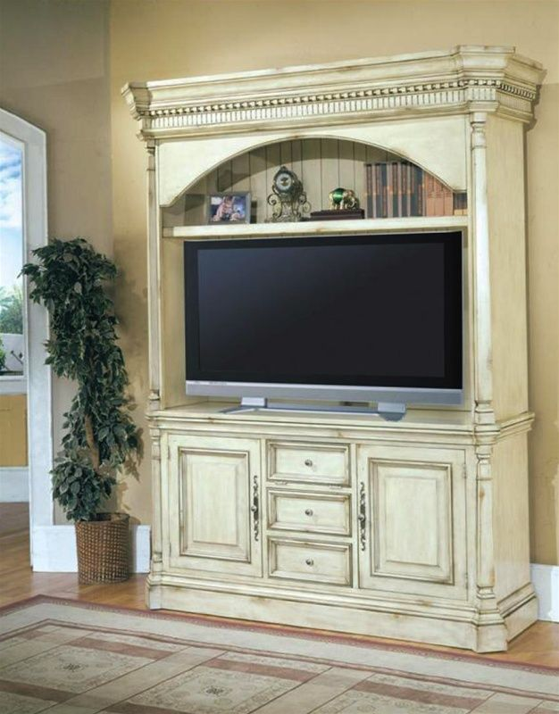 Westminister 62-Inch TV 3PC Entertainment Center in Vintage Cream Crackle Finish by Parker House – 600-3EC