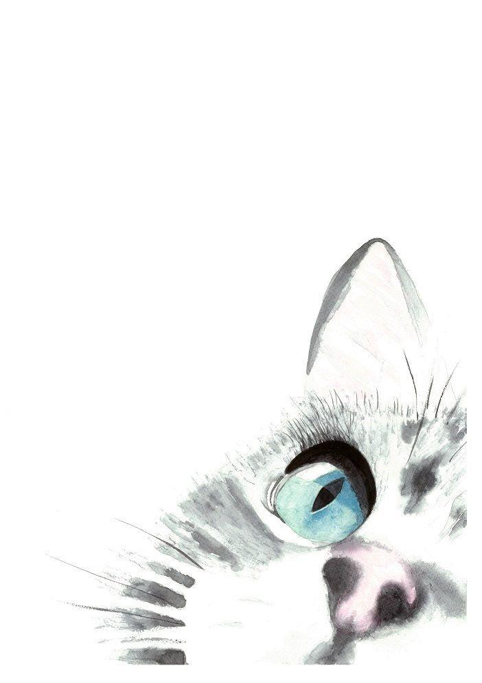 Ein Katzen Fokus Original Aquarell Malerei Kunstdruck, Katze Kunst, Inneneinrichtungen, Wand