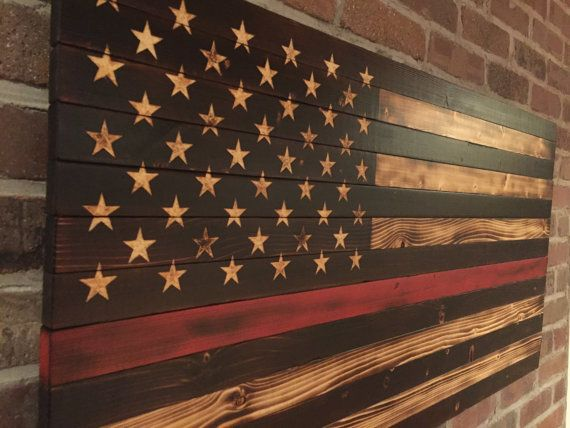 Thin Red Line Firefighter Wooden American Flag Torched Hand Carved Stars