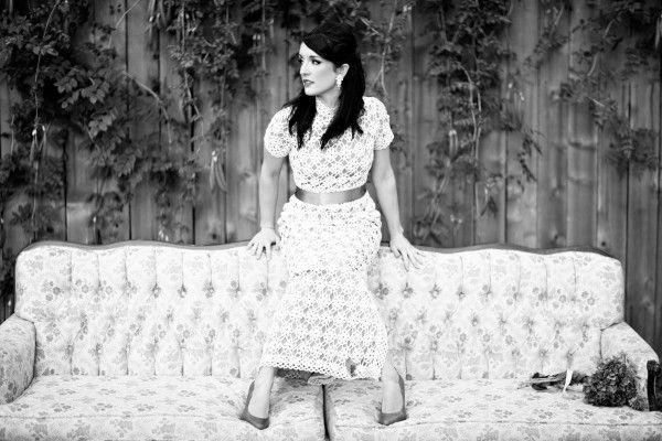 Eclectic bridal portraits vintage sofa couch crochet for Vintage wedding dresses houston