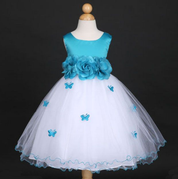 """Φορέματα για Παρανυφάκια - Επίσημα Φορέματα για Κορίτσια :: Αμάνικο Παιδικό ΛΕΥΚΟ - ΤΥΡΚΟΥΑΖ Σατέν - Τούλι Φόρεμα με Πεταλούδες με Συνοδευτικό Κορμί, Ζώνη, Λουλούδι, Φιόγκο, """"Butterfly"""" -http://www.memoirs.gr/"""