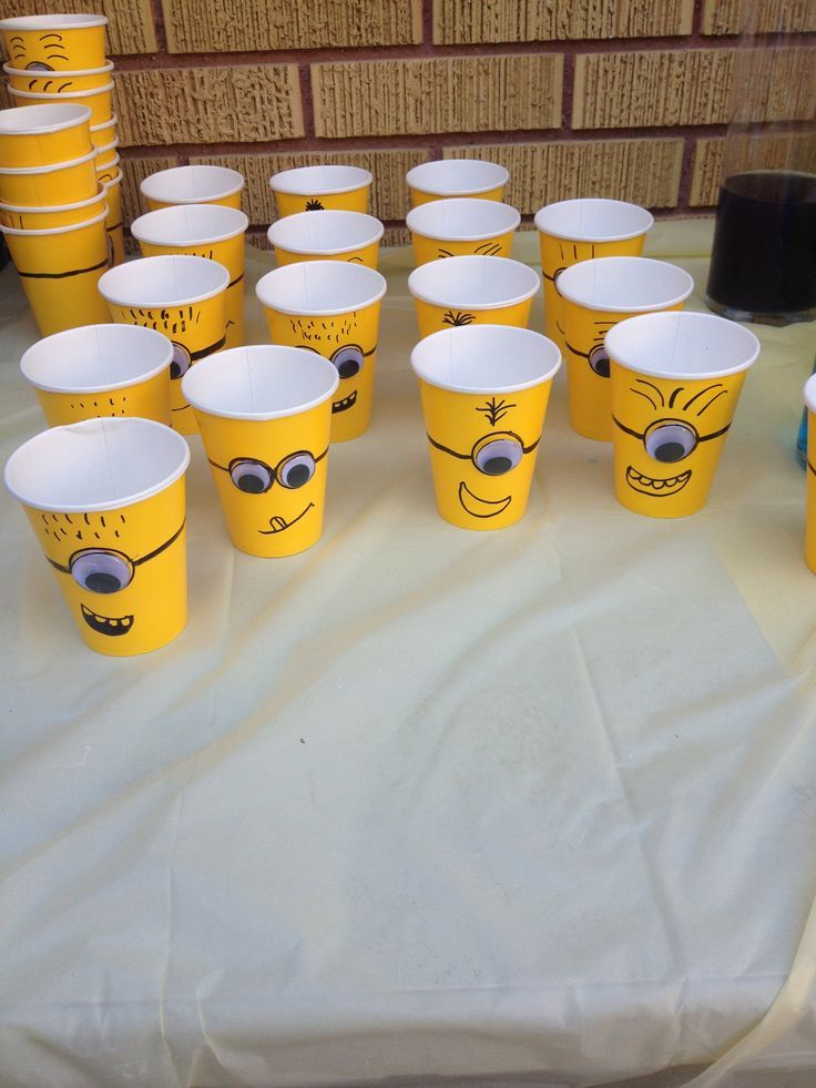 MINION THEME: Get a bunch of yellow disposable cups and draw minion faces on them with a marker. Yo can also get some googly eyes and glue them onto the cups. Some can have only one and some can have two.