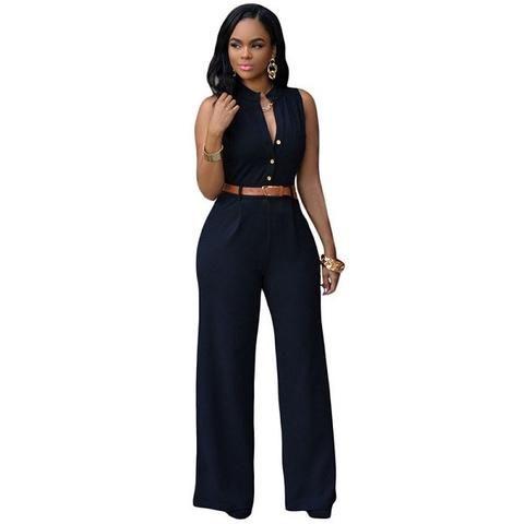 80d6a8ec6f39 Womens Cool Classy Sleeveless Wide Leg Long Pants Jumpsuit