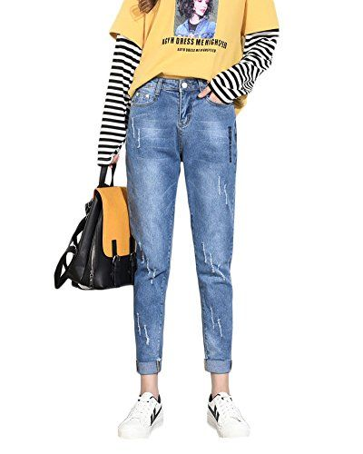 ad6b600360db QitunC Femmes Jeans Mode Casual Pantalon Skinny Crayon Élastique Lâche  Denim Pantalon Slim Pantalon Fuselé Bleu