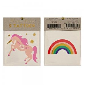 Unicorn and Rainbows temporary tattoos - Meri Meri