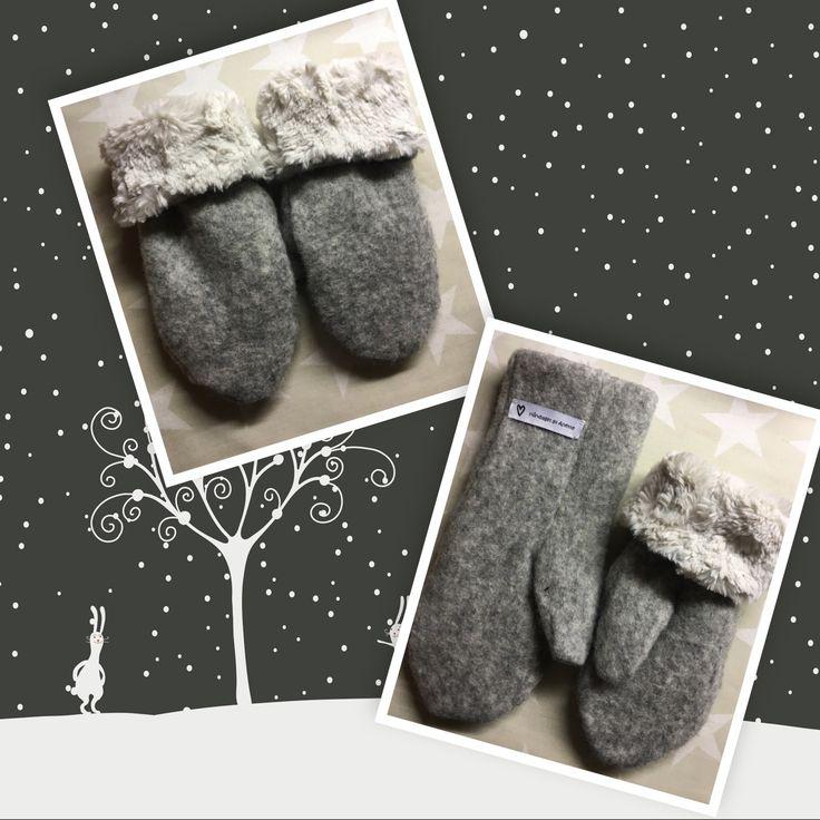 Warm and cosy wool mittens. Pattern: Stoff og stil (9023600) Fabrics: Stoff og stil (310281, 910233)