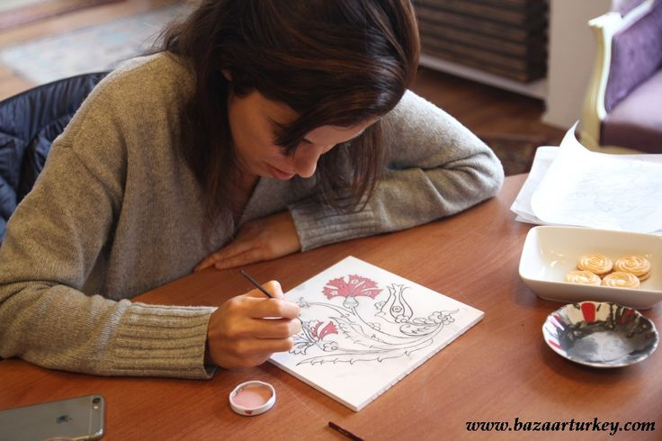 Classical Turkish and Ottoman Tile Design Classes in Istanbul with our students.. - March 2017 http://www.bazaarturkey.com/tours/turkish_tiles_workshop.html