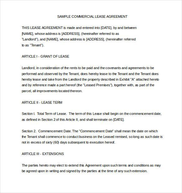 Example Of Rental Agreement