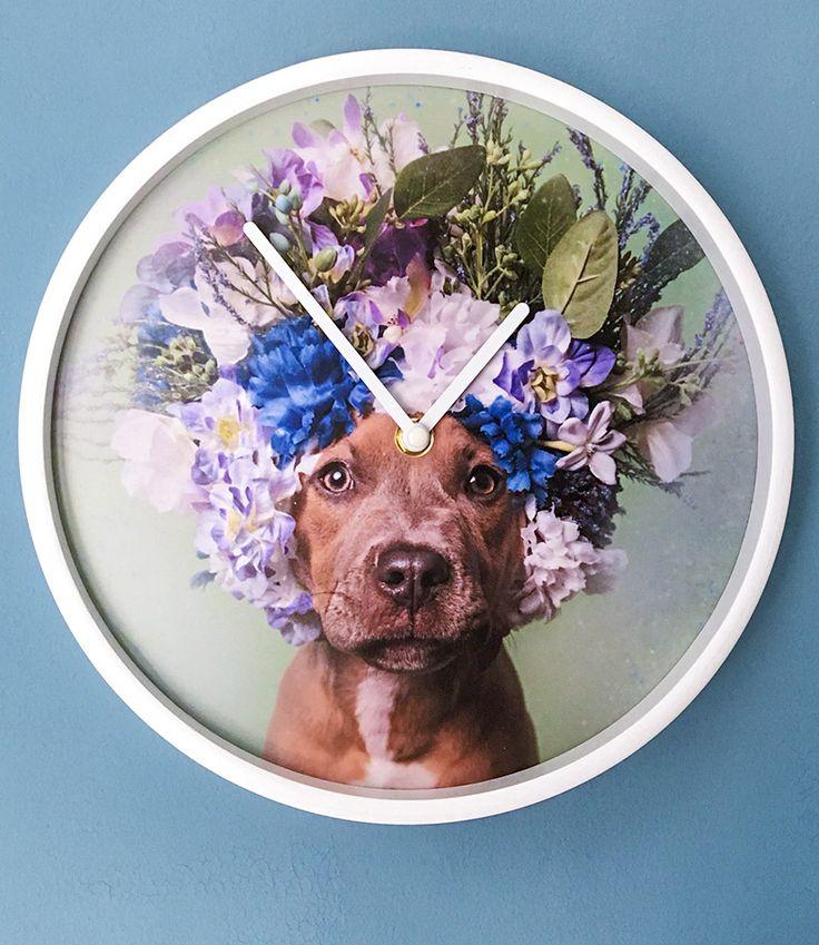 Individuelle & einzigartige Wanduhr   dekorieren mit Farbe   Farbtupfer   Wanduhr   Uhr   Hund   Blumen