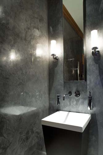 Polished plaster powder room