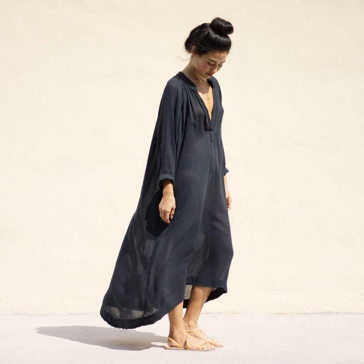 Gauze Dress Black Crane