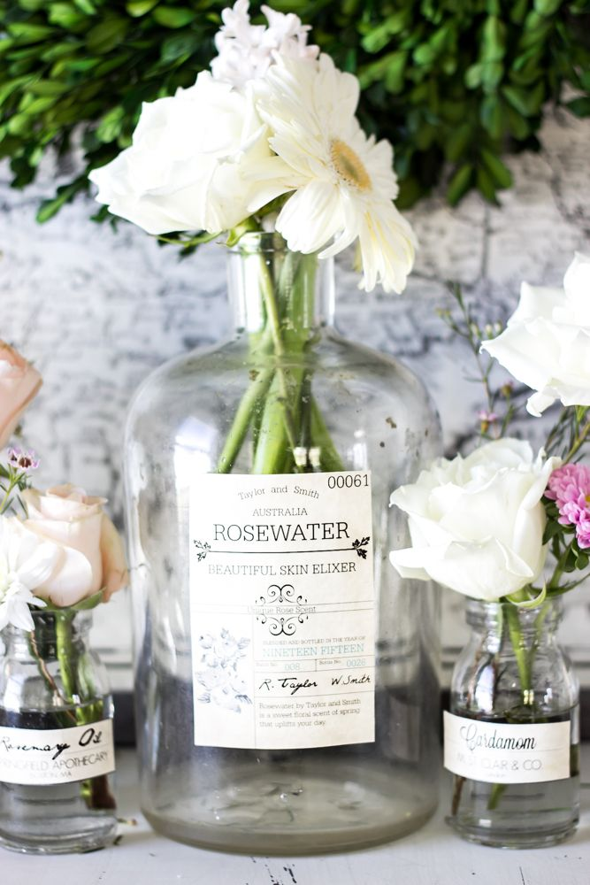 Spring Apothecary Jar Labels Printable | blesserhouse.com - These are so cute! Stick them on any glass bottles and they're instant vintage farmhouse decor!