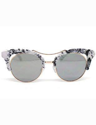 Marmorierte brow retro sonnenbrille   Damen-Accessoires in Übergrößen   – Pro…