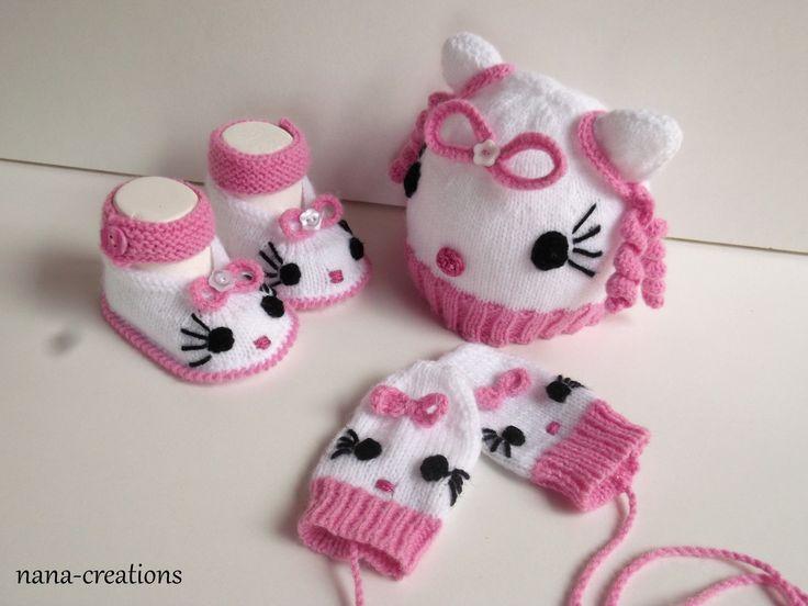 Ensemble bonnet, chaussons, moufles bébé tricoté en laine layette , 0.3 mois,blanc et rose, .@nana-creations : Mode Bébé par nana-creations