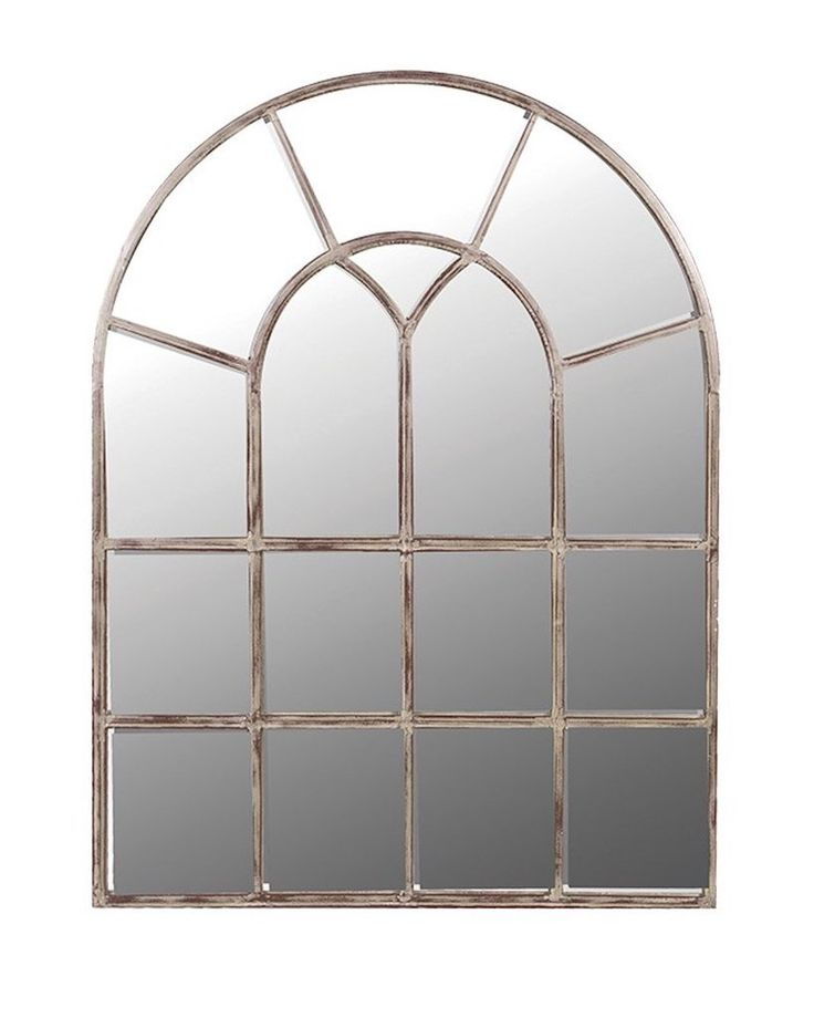 Arched Window Pane Mirror, Metal Frame H:122cm | Free Delivery