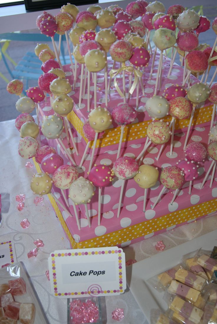 Baby Shower Yellow And Pink ~ Pink yellow baby shower dessert sweets table cake