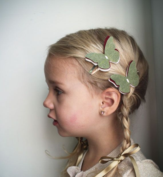 Felt Butterfly hair Clip . little girl by PaperdollAccessories