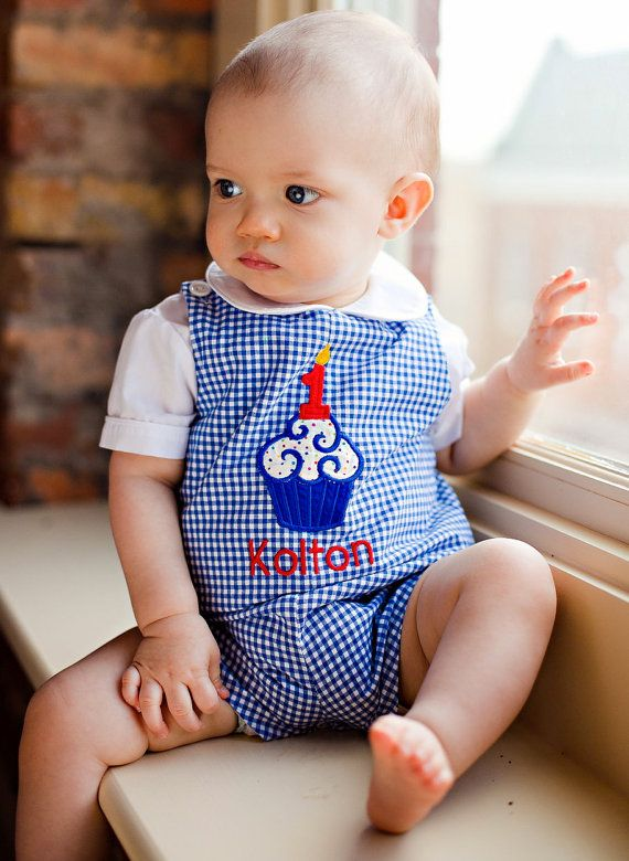 Boys Birthday Jon Jon in royal gingham by gumdropgrove on Etsy Love this outfit