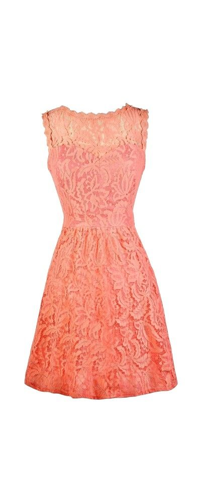 Lily Boutique Carly Floral Lace A-Line Dress in Coral, $45 www.lilyboutique.com