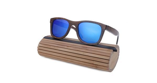 Gafas 100% de bambú auténtico con lentes de espejo azul polarizado UV400 México compra en línea