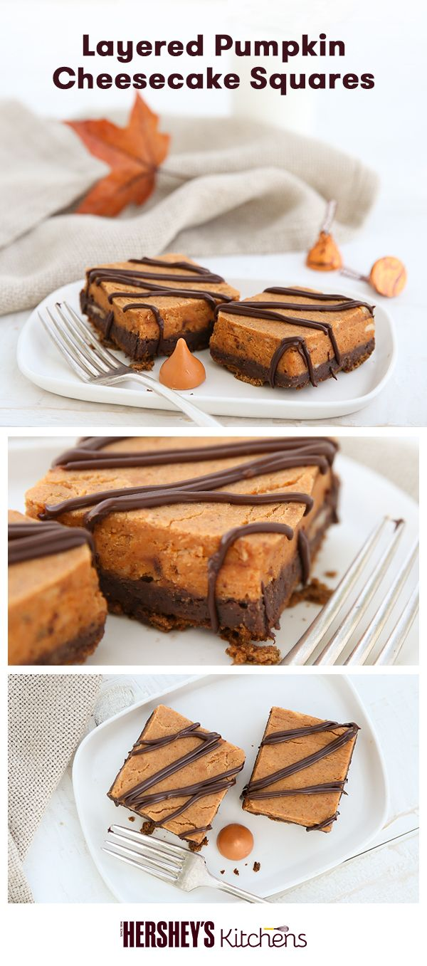 It's pumpkin season! Update a fall classic with Layered Pumpkin Cheesecake Squares! Made with HERSHEY'S Spreads Chocolate and HERSHEY'S KISSES Brand Pumpkin Spice Flavored Candies, this easy recipe is great for fall festivities and Thanksgiving dessert.