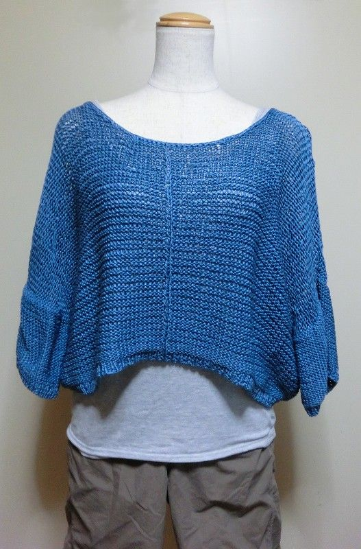 機械編み-完成作品   初心者のハンズフレンド機械編み サマーセーター青 ...