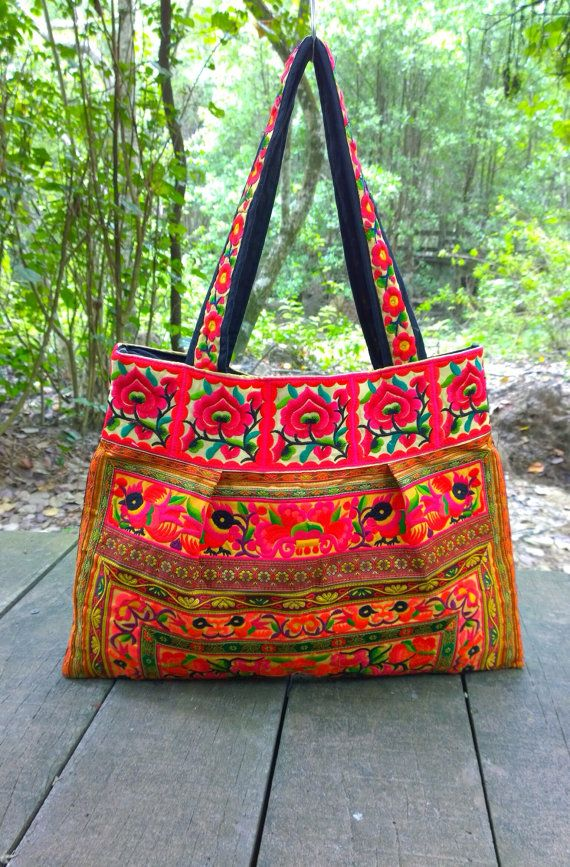 On Sale Banjara Hmong Boho Embroidery Tote Ethnic Bag by pasaboho