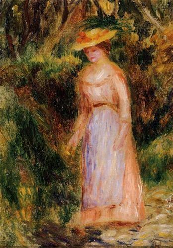 Young Woman Taking a Walk - Pierre-Auguste Renoir