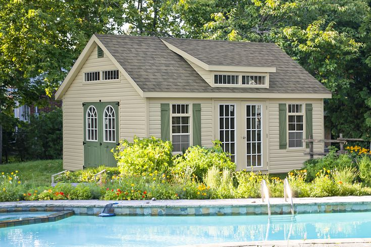 This  poolside shed for sale From sheds unlimited offers our customers beautiful design and spacious interior