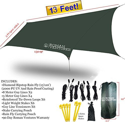 HAMMOCK RAIN FLY TENT TARP Waterproof Camping Shelter. Lightweight RIPSTOP NYLON & Not Cheap Polyester. Stakes Included. (Dark Green). For product & price info go to:  https://all4hiking.com/products/hammock-rain-fly-tent-tarp-waterproof-camping-shelter-lightweight-ripstop-nylon-not-cheap-polyester-stakes-included-dark-green/