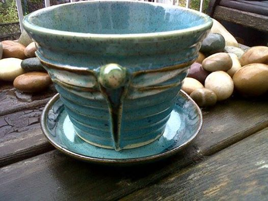 My rustic dragonfly handled pottery planter. Donated to Port Moody's Hike for Hospice event.