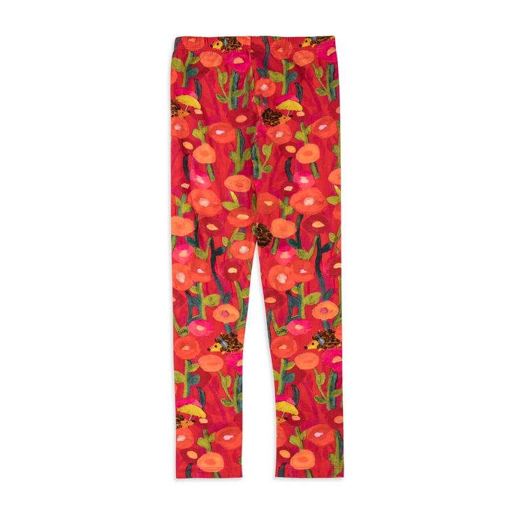 OILILY Girls 'Tiska' Leggings - Red From £31 Girls printed leggings • Soft stretchy cotton • Elasticated waistband • Long length design • Colourful floral hedgehog print • Material: 95% Cotton, 5% Elastane