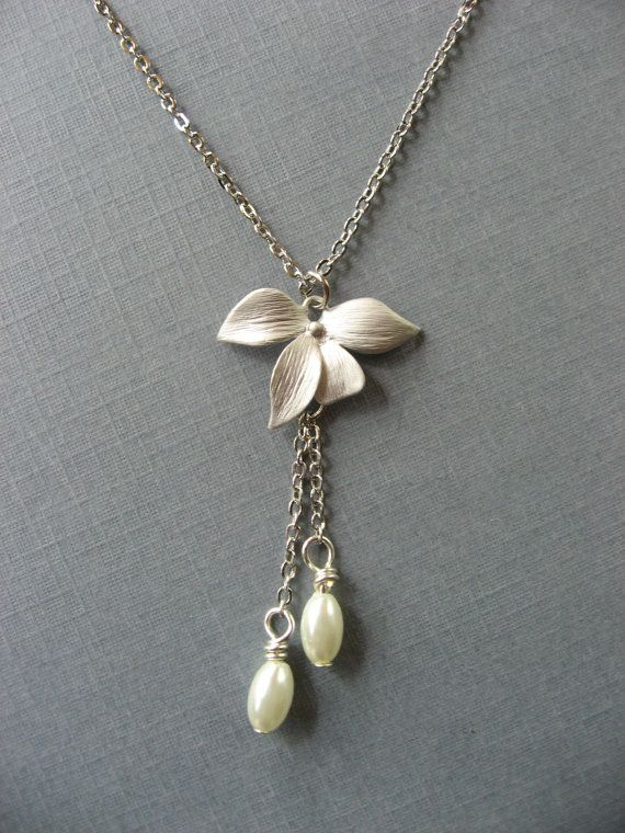 Mothers Day Leaf Necklace with Pearl Pendant by DevinMichaels