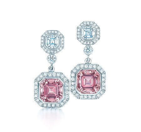 Pink Tiffany Jewelry | Tiffany pink and white diamond earrings set in platinum. $1,000,000.