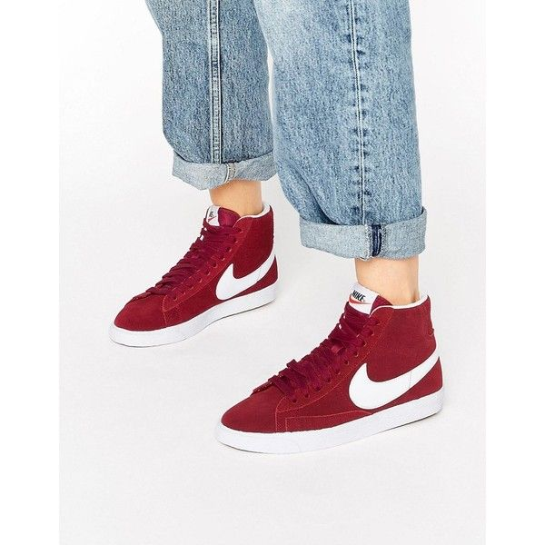 Nike Suede Blazer Trainers In Burgundy And White (525 CNY) ❤ liked on Polyvore featuring shoes, sneakers, red, white high tops, red high top sneakers, suede sneakers, burgundy sneakers and white hi top sneakers