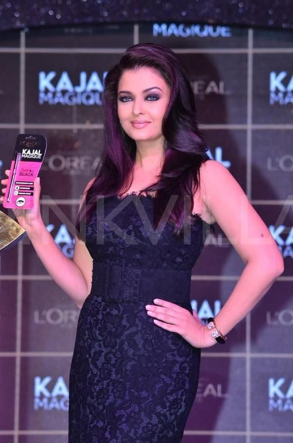 Brand ambassador Aishwarya Rai Bachchan launched L'Oreal Paris's new eye liner, Kajal Magique in Mumbai today. Ash looked stunning in a black, Dolce & Gabbana gown.