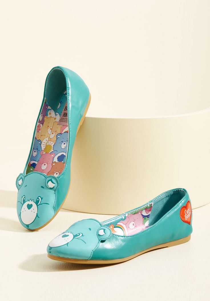 Face Your Cheers Vegan Flat in Teal. Proclaim your proclivity for positivity by sporting these Care Bear ballet flats from Iron Fist! #blue #modcloth
