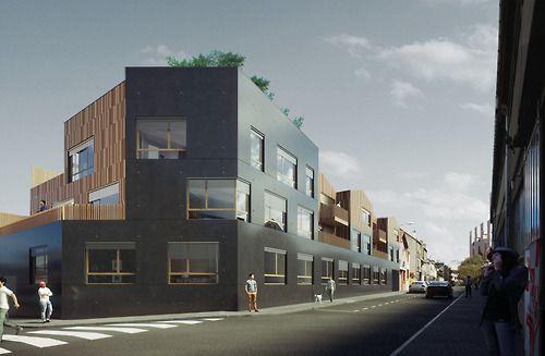 26 Logements participatifs (dont 4 sociaux), 1 local commun et un logement intergénérationnel Jardins potagers en toiture MOE : NZI Architectes (mandataires)+ I+A ingénierie+WOR ingénierie+champs libre paysagistes 11 Rue Charton - MONTREUIL 93100 RT 2012 MOA : CPA-CPS (http://www.cpa-cps.com/) Budget : 3 000 000 euros SP : 1900 / SHAB 1820 PHASE : APD en Cours Composé de plusieurs bâtiments de deux étages, qui respectent la trame de ce quartier résidentiel, ce ...