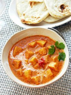 Paneer Makhani - Butter Paneer: Cubes of succulent home made cheese are simmered in a creamy, tomato sauce. Indian food is awesome!!~ Love love love it!!~ :D (I will use tofu to replace and now it's vegan)! ✌️❤️