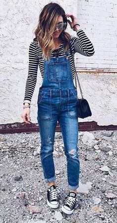 Stripes + overalls.