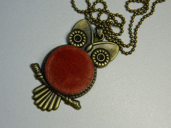 Terrakotta Velvet Button Owl Pendant Gift for by LittleRubyAtom