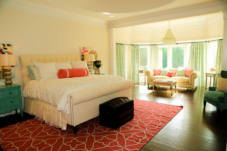 Dream Bedroom! Coral, aqua and ivory