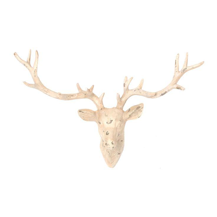 Distressed White Deer Head Wall Plaque | Kirklands