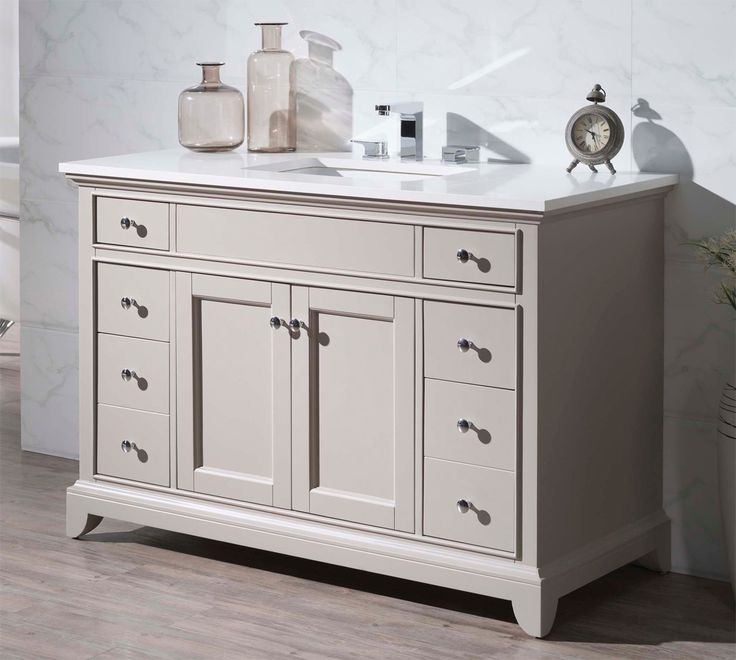 Web Photo Gallery Single Sink Bathroom Vanity Tapered legs and a versatile beige finish give this Stufurhome Arianny in Single Sink Bathroom Vanity its transitional