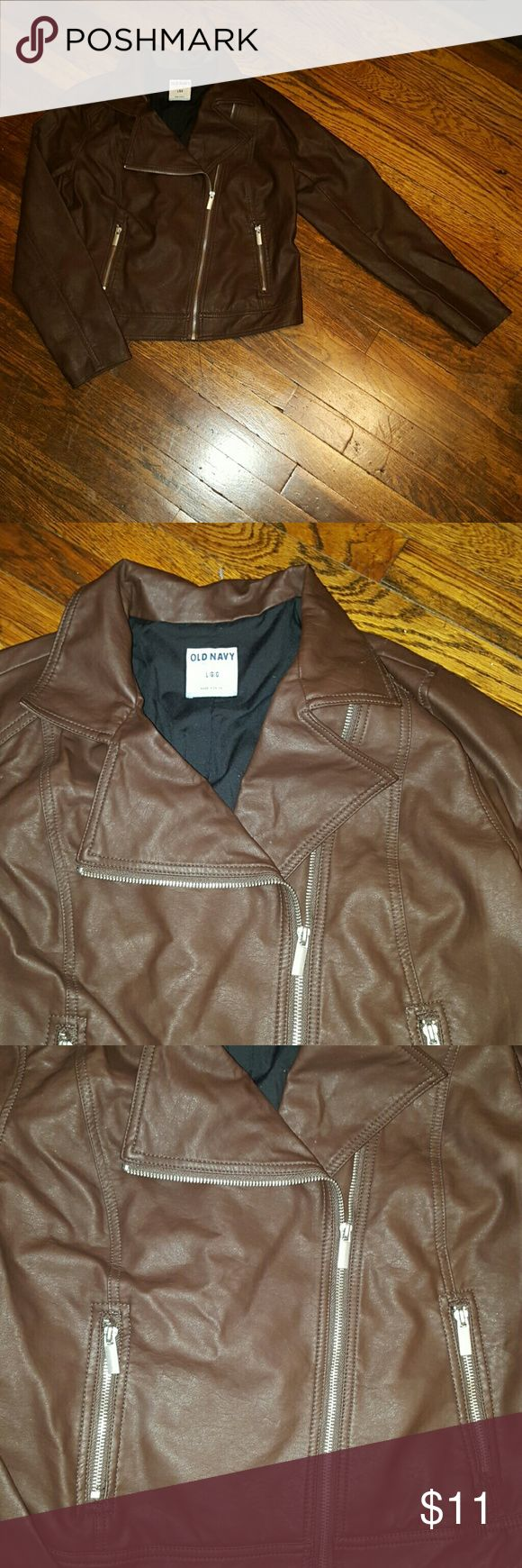 Old Navy leather jacket Used Old Navy brown size L leather jacket. In great condition! ! Old Navy Jackets & Coats