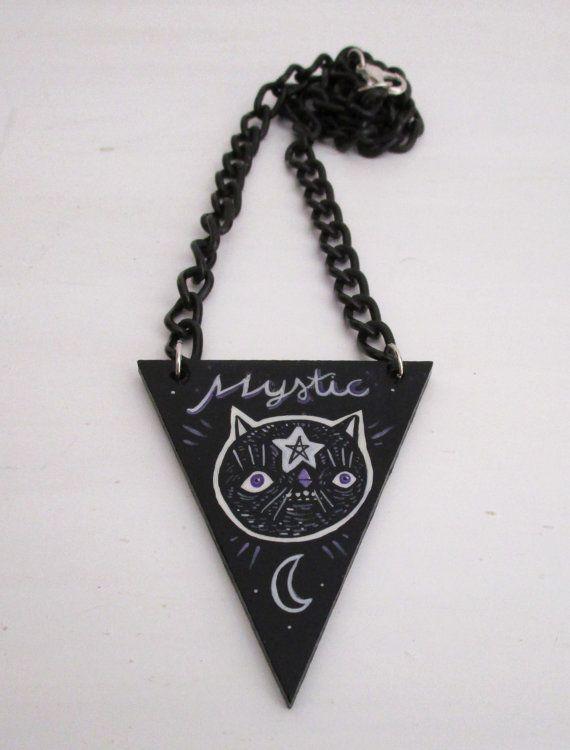 Cat mystic necklace pendant hand painted  di ValentinaZummo