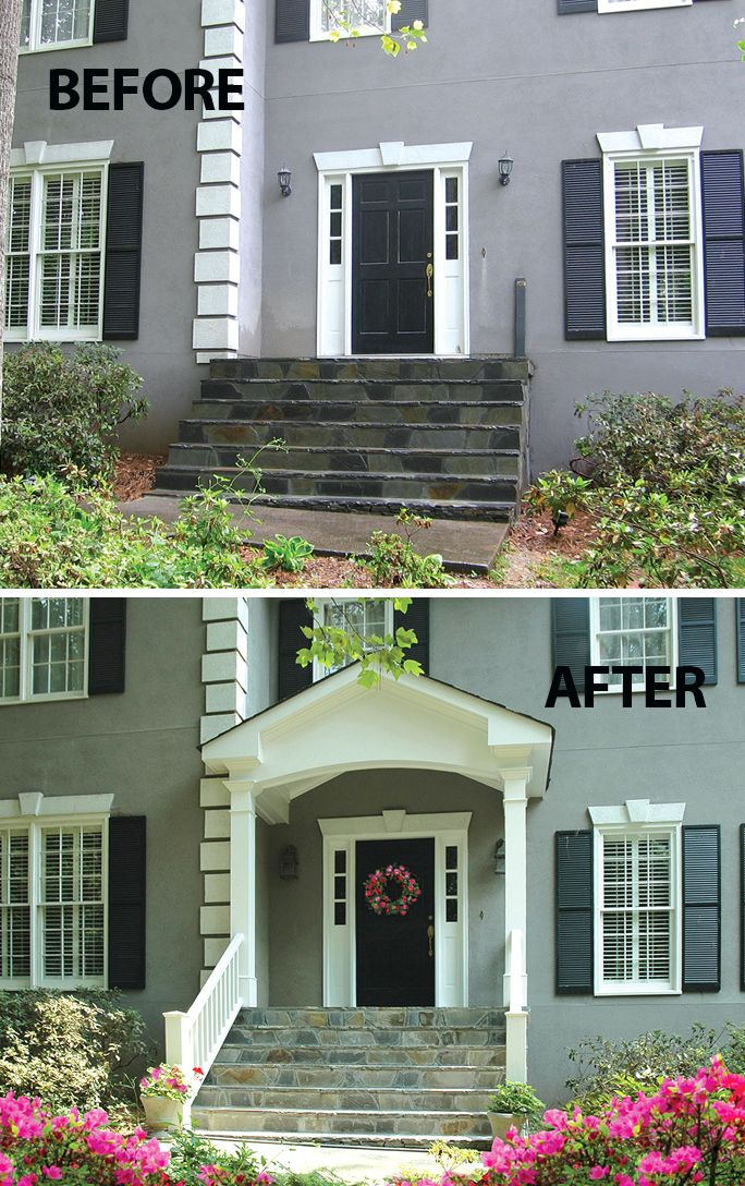 Stucco 2 Story Receives Style And Flair With A New Portico