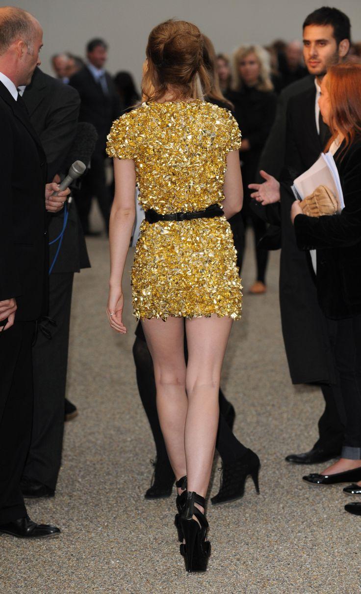 Emma Watson Burberry Gold Dress Mini Skirt Sexy Legs